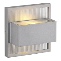UP-DOWN LED Wandleuchte, eckig, silbergrau, 2x1W, 2700K, IP